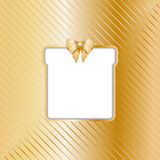 Gold Christmas backgound with cut out gift Stock Photos