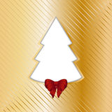Gold Christmas backgound with cut out tree Royalty Free Stock Image