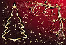 Gold christmas background. With fir (vector Stock Photos