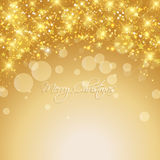 Gold christmas background. Decorative Christmas background of snowflakes and stars royalty free illustration