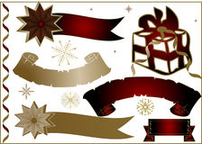 Gold christmas background - ba. Gold christmas background - snowflakes - vector illustration - banners Stock Photo