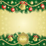 Gold Christmas background with bells Stock Photography