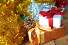 Gold Christmas background of de-focused lights with decorated tree Royalty Free Stock Photography