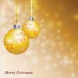 Gold Christmas Background - Illustration. Christmas background illustration with ornaments Stock Photography