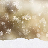 Gold Christmas background with mounds of snow Stock Images