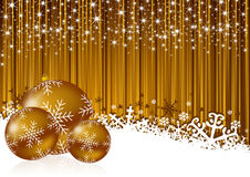 Gold christmas background with snowflakes. And christmas balls Royalty Free Stock Image