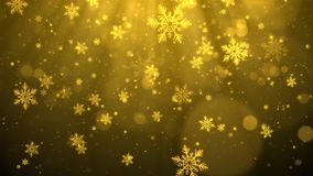 Gold Christmas background with snowflakes, shiny lights and particles bokeh in elegant theme.  Royalty Free Stock Photos