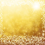 Gold christmas background white lights and stars Royalty Free Stock Photography