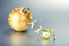 Gold christmas ball Stock Images