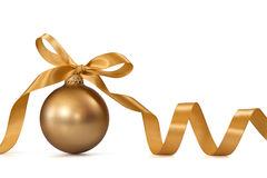Gold Christmas ball. With ribbon over white background Stock Images