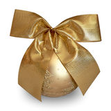 Gold Christmas ball. With gold ribbon - isolated on white background Royalty Free Stock Photography