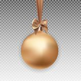 Gold Christmas Ball with Ball and Ribbon on Transparent Background Vector Illustration Royalty Free Stock Image