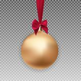 Gold Christmas Ball with Ball and Ribbon on Transparent Background Vector Illustration Royalty Free Stock Photo