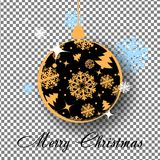 Gold Christmas ball with bow  on transparent background. Holiday christmas toy for fir tree. Vector illustration Stock Photo
