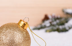 Gold Christmas Ball Closeup Stock Images