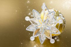 Gold christmas ball and decoration Stock Photo