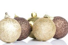 Gold christmas ball decoration Stock Image