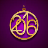 Gold Christmas ball 2016 design, New Year greeting card, postcard, vector illustration. On violet background Royalty Free Illustration