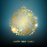 Gold christmas ball. Golden confetti ball on the blue background. Happy new year 2016. Holiday card. Template for your design. Vector illustration Royalty Free Stock Image