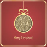 Gold Christmas ball, made of glitter, cut paper on red background. Royalty Free Stock Photo