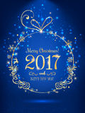 Gold Christmas ball for Merry Christmas 2017 and New Year on blue background with light, stars, snowflakes. Holiday card. Vector eps illustration vector illustration