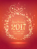 Gold Christmas ball for Merry Christmas 2017 and New Year on red background with light, stars. Snowflakes. Holiday card. Vector eps illustration Royalty Free Stock Photos