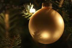 Gold Christmas Ball Ornament Stock Photography