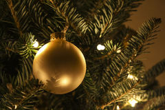 Gold Christmas Ball Ornament Royalty Free Stock Image