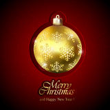 Gold Christmas ball on red background Royalty Free Stock Images