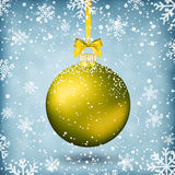 Gold christmas ball with ribbon and bow. On light background with snow and snowflakes. template for greeting or postal card new year, vector illustration Stock Photo
