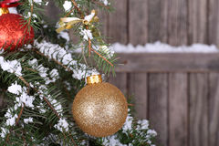 Gold Christmas Ball on Tree. Gold Christmas ball hanging on snowy evergreen with wood fence background Royalty Free Stock Image