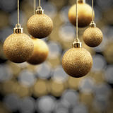 Gold Christmas balls Royalty Free Stock Images