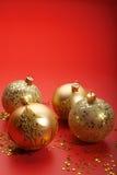 Gold Christmas balls Royalty Free Stock Photos