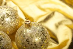 Gold Christmas balls Royalty Free Stock Photos