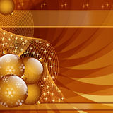 Gold christmas balls abstract. Gold Christmas balls on abstract wispy background decorated with stars and snowflakes. Copy space for text stock illustration