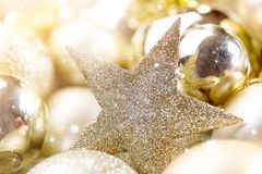Gold christmas balls Royalty Free Stock Photo