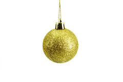 Gold Christmas balls. Gold Christmas ball on white background Stock Photography