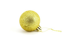 Gold Christmas balls. Gold Christmas ball on white background Royalty Free Stock Image