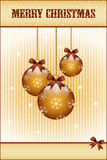 Gold christmas balls and bows Stock Photography