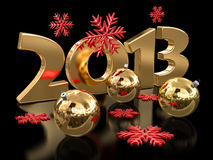 Gold 2013 and Christmas balls Royalty Free Stock Images