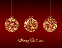 Gold Christmas balls on red background. stock illustration