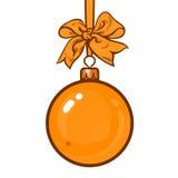 Gold Christmas balls with ribbon and bows Royalty Free Stock Photos