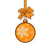Gold Christmas balls with ribbon and bows Royalty Free Stock Photo