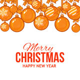 Gold Christmas balls with ribbon and bows, greeting card template Royalty Free Stock Photos