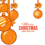 Gold Christmas balls with ribbon and bows, greeting card template Royalty Free Stock Images