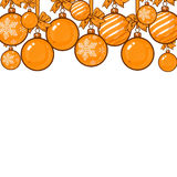 Gold Christmas balls with ribbon and bows. Gold Christmas balls with gold ribbon and bows, sketch style vector template for greeting card. Frame or border of Royalty Free Stock Photography