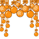 Gold Christmas balls with ribbon and bows. Gold Christmas balls with gold ribbon and bows, sketch style vector template for greeting card. Frame or border of Royalty Free Stock Photo