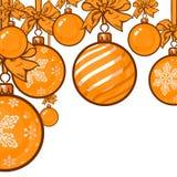 Gold Christmas balls with ribbon and bows Royalty Free Stock Image