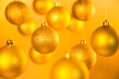 Gold Christmas balls Stock Photography