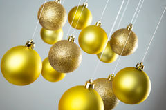 Gold Christmas balls royalty free stock photography